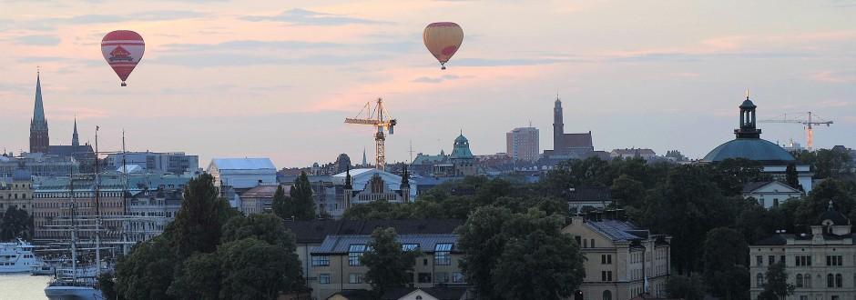 Ballonger över Skeppsholmen från Fjällgatan. Foto: Rolf Olsson